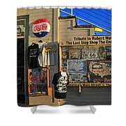 Last Stop Shop Shower Curtain by Lynn Bauer