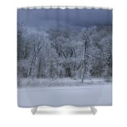 Late Snow At The Rio Grande Shower Curtain by Ellen Heaverlo