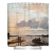 Late Winter In Holland Shower Curtain by Nicholas Jan Roosenboom