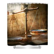 Lawyer - Scale - Balanced Law Shower Curtain by Mike Savad