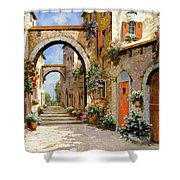 Le Porte Rosse Sulla Strada Shower Curtain by Guido Borelli
