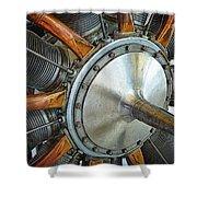 Le Rhone C-9J Engine Shower Curtain by Michelle Calkins