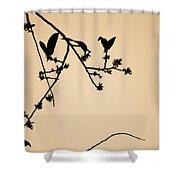 Leaf Birds Shower Curtain by Darryl Dalton