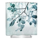 Leaves In Dusty Blue Shower Curtain by Priska Wettstein