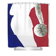 Lebron NBA Logo Shower Curtain by Tamir Barkan