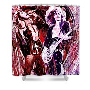 Led Zeppelin - Jimmy Page And Robert Plant Shower Curtain by Ryan RockChromatic