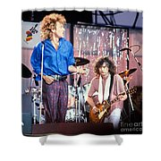 Led Zeppelin Page And Plant Live Aid 1985 Shower Curtain by Chuck Spang