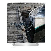 Left At The Dock Shower Curtain by Karol Livote