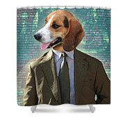 Legal Beagle Shower Curtain by Nikki Smith