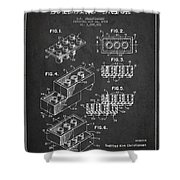 Lego Toy Building Brick Patent - Dark Shower Curtain by Aged Pixel