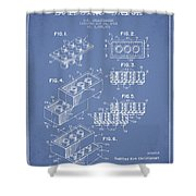 Lego Toy Building Brick Patent - Light Blue Shower Curtain by Aged Pixel
