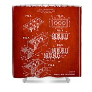 Lego Toy Building Brick Patent - Red Shower Curtain by Aged Pixel
