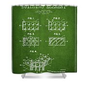 Lego Toy Building Element Patent - Green Shower Curtain by Aged Pixel