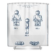 Lego Toy Figure Patent - Blue Ink Shower Curtain by Aged Pixel