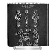 Lego Toy Figure Patent - Dark Shower Curtain by Aged Pixel