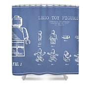 Lego Toy Figure Patent Drawing From 1979 - Light Blue Shower Curtain by Aged Pixel