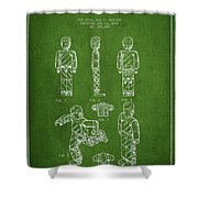 Lego Toy Figure Patent - Green Shower Curtain by Aged Pixel