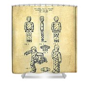 Lego Toy Figure Patent - Vintage Shower Curtain by Aged Pixel