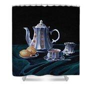 Lemons and Tea Shower Curtain by Anastasiya Malakhova