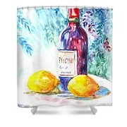 Lemons And Wine And A Little Sunshine Shower Curtain by Carol Wisniewski