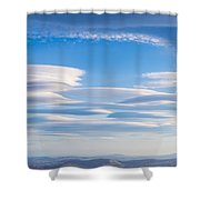 Lenticular Clouds Forming In The Troposphere Shower Curtain by Semmick Photo