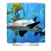 Leopard Shark Watercolor Shower Curtain by Barbara Snyder