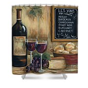 Les Vins Shower Curtain by Marilyn Dunlap