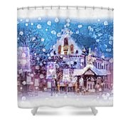 Let It Snow Shower Curtain by Mo T