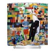 Let Us Make Man Shower Curtain by David Baruch Wolk