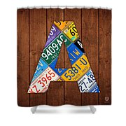 Letter A Alphabet Vintage License Plate Art Shower Curtain by Design Turnpike