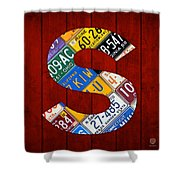 Letter S Alphabet Vintage License Plate Art Shower Curtain by Design Turnpike