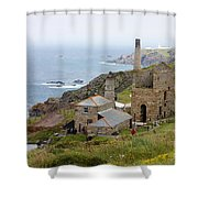 Levant Mine And Beam Engine Shower Curtain by Terri  Waters