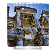 Library Of Celsus Shower Curtain by David Smith