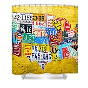 License Plate Art Map Of The United States On Yellow Board Shower Curtain by Design Turnpike