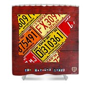 License Plate Map Of Arkansas By Design Turnpike Shower Curtain by Design Turnpike