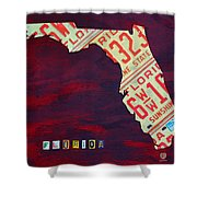 License Plate Map of Florida by Design Turnpike Shower Curtain by Design Turnpike