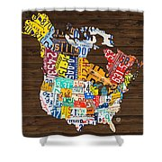 License Plate Map Of North America - Canada And United States Shower Curtain by Design Turnpike