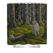 Life In The Woodland Shower Curtain by Veikko Suikkanen
