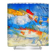 Life Is But A Dream - Koi Fish Art Shower Curtain by Sharon Cummings