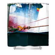 Lifeboat Chocks Away  Shower Curtain by Terri Waters