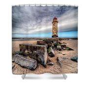 Lighthouse At Talacre  Shower Curtain by Adrian Evans