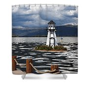 Lighthouse in Lake Dillon Shower Curtain by Juli Scalzi