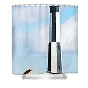 Lighthouse Living - New Cape Henry Lighthouse Shower Curtain by Gregory Ballos