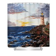 Lighthouse Road At Sunset Shower Curtain by Lee Piper