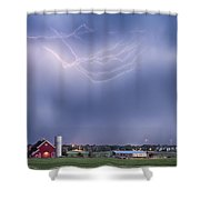 Lightning Storm And The Big Red Barn Shower Curtain by James BO  Insogna
