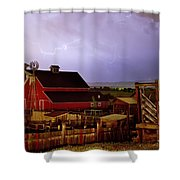 Lightning Strikes Over The Farm Shower Curtain by James BO  Insogna