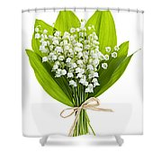 Lily-of-the-valley Bouquet Shower Curtain by Elena Elisseeva
