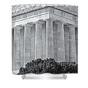 Lincoln Memorial Pillars BW Shower Curtain by Susan Candelario