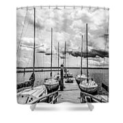 Lined Up At The Dock Shower Curtain by Kathy Liebrum Bailey