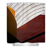 Lines And Light Shower Curtain by Rona Black